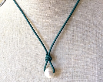 Leather Pearl Necklace, White Freshwater pearl, Turquoise Leather, Pearl necklace, June birthday