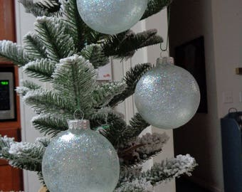 Set of 3 Ice Blue Glass Orbs Christmas Tree Ornaments