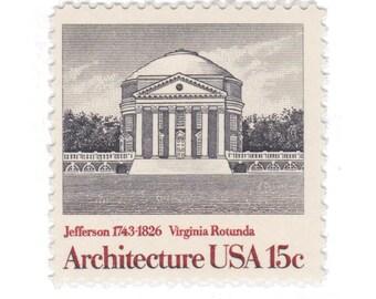 10 Unused Vintage Postage Stamps - 1979 15c Virginia Rotunda - American Architecture Series - Item No. 1779