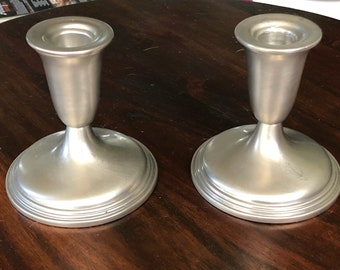 Pair of Vintage Empire Pewter Candle Sticks