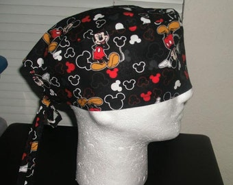 Mickey Mouse Tossed with Hearts Scrub Caps, Surgical Caps, Chemo Caps, Headwear