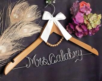 Bride Hanger with Pearls, Bridesmaid Dress Hanger, Personalized Wedding Hanger, Bridal Hanger, White Coat Ceremony, College Graduation Gift