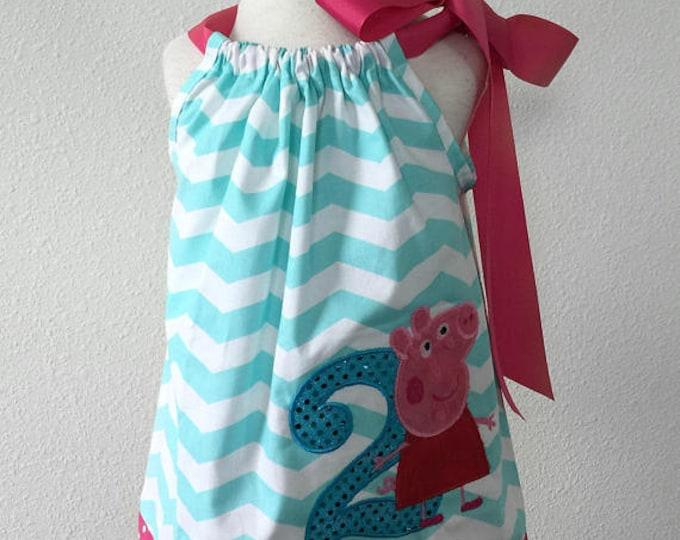 Peppa Pig Birthday Pillowcase Chevron Dress