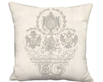 18x18 Inch READY TO SHIP - Linen Exposition Nantes Pillow - Linen Cotton French Country Farmhouse Pillow Cover