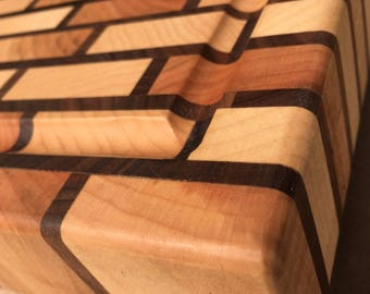 End Grain Cutting Board - Brick Pattern - Curly Maple and Black Walnut