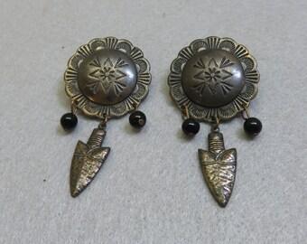 Southwestern Concho Pierced Earrings, Aged Brass, Native American Style