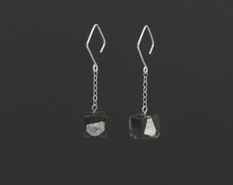 Murano glass black cube earrings. Sterling silver chain earrings. Silver drop earrings. Womens dangle earrings. Venetian glass earrings.