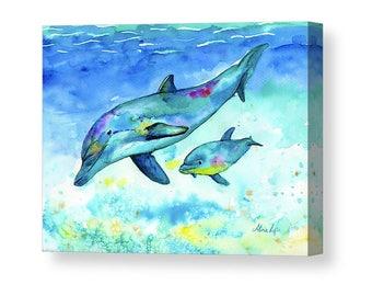 DOLPHIN PAINTING | Christmas Gift | Dolphin Art | Baby Shower Gift | Canvas | Dolphin Print | Watercolor Dolphin | Nursery Decor | Beach Art