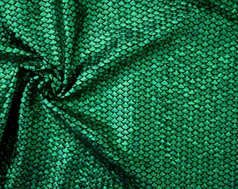 Green Fish Scale Spandex Fabric Holographic Mermaid Under the Sea Ocean Siren Aquatic Amphibious Dragon Lizard Animal Print (By the Yard)