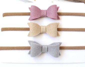 Headband Bow set. Baby Bow headband. Baby headbands. Wool felt bows. Set of 3 small felt hair bows on stretch headbands or clips