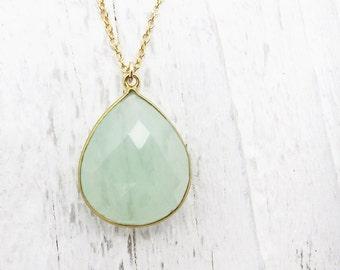 green pendant necklace mint briolette necklace, gemstone necklace, statement necklace, bridesmaid necklace,wedding jewelry, bridal necklace,