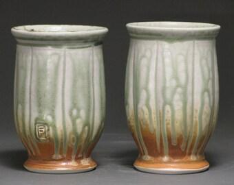 Tumblers-- green ash and rust glazes