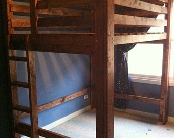 Full or Queen Size Loft Bed, at 3 height options, with ladder.
