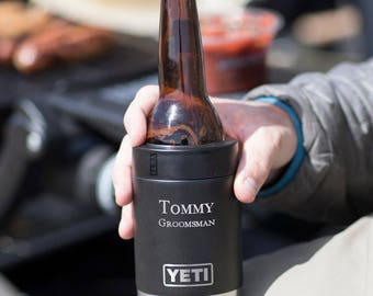 Personalized Black YETI Colster Rambler Vacuum Insulated Stainless Steel - Personalized Groomsmen Gifts, Father's Day, Dad, Corporate Gift