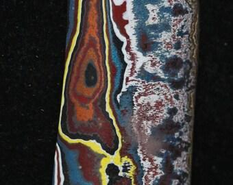 Corvettite cabochon, black brown yellow white gray red/maroon/carmine, 38ct