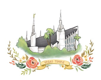 Las Vegas Temple, LDS temple, Mormon art, FHE, latter day saint, Christian, flower wreath, hipster, digital file print