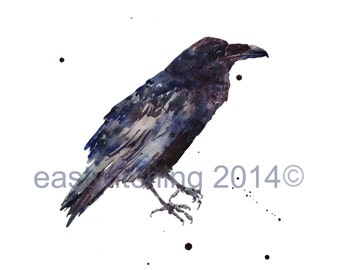 Watercolor RAVEN  Print, 8x10 print, bird art prints, goth girl