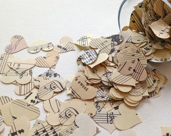 Vintage Music Confetti - 500 Piece Paper Hearts -  Wedding Table Decor - Music Theme - Party Decor - Hand Punched Vintage Music Confetti