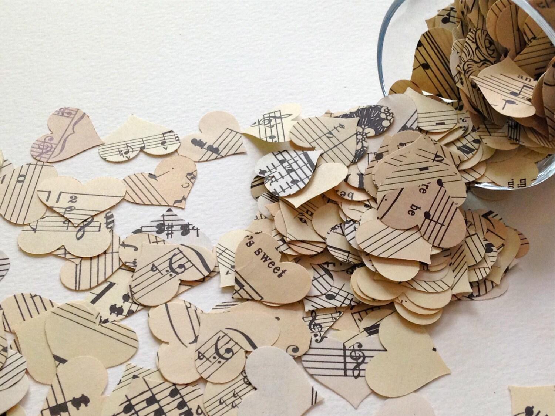 Vintage Music Confetti - 500 Piece Paper Hearts - Wedding Table ...