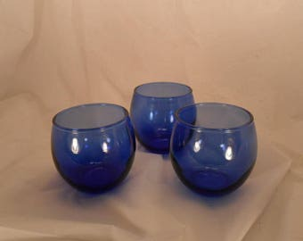 Set of 3 Hand blown cobalt glass tumblers