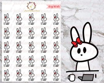 Working, Boss Babe, Rosy the Bunny Stickers, Planner Stickers, Hand Drawn Stickers