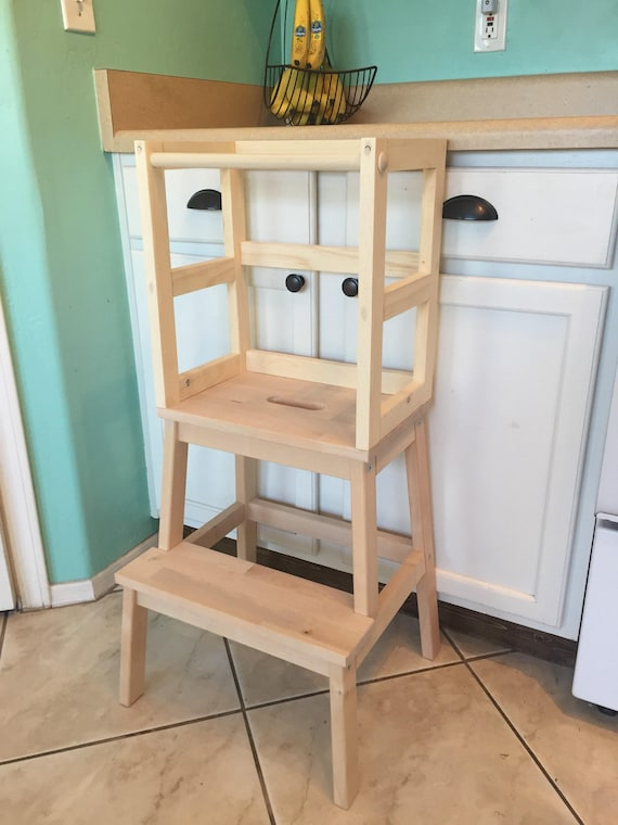 Montessori kitchen helper stool toddler tower wood step for Kitchen helper stool