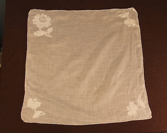 Vintage 40's-60's White Embroidered Floral Linen Handkerchief
