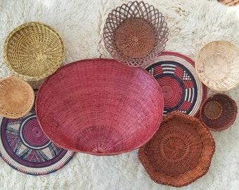 Vintage Tribal Burgundy Basket Wall Set