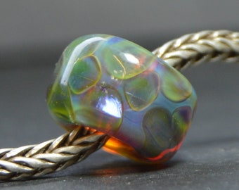 Unique Handmade Lampwork European Charm Bead with Silver Glasses - SRA - Coring Options - Fits all charm bracelets