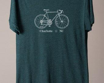 Charlotte tshirt, Charlotte NC tee, Charlotte tee, American Apparel tshirt, custom bike tee, bicycle