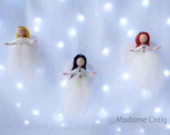 Needle Felted Christmas Tree Angels - Fairy - Waldorf Inspired - Decoration - Christmas Stockings filler