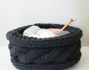 """DIY Knitting PATTERN - Twisted Cable Chunky Knit Basket (approx 13"""" diameter by 7"""" tall) (homdec011)"""
