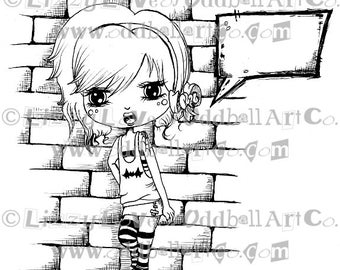 Digi Stamp Digital Instant Download Big Eye Girly Grunge Chibi Girl w/ Speech Bubble Image No. 93 by Lizzy Love