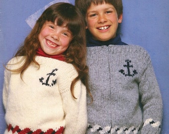 Knitting 2 to 14 Years SAILOR THEME SWEATERS Pattern Leaflet- Anchor Design Sail Away - Girls and Boys - Original Not a Pdf Kenyon Books