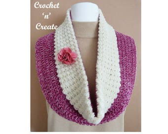 Collared Cowl Crochet Pattern (DOWNLOAD) CNC72