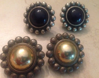 Vintage Earrings Silver Disc Set Two Pair Costume Jewelry