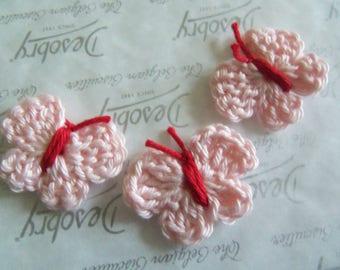 Set of Five Pink Crochet Butterfly Appliques. Handmade Crochet Butterfly Appliques.