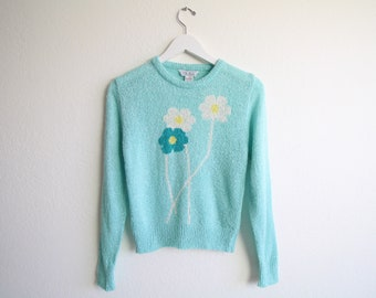 VINTAGE Sweater Flower Sweater Aqua Blue 1980s Knit Small