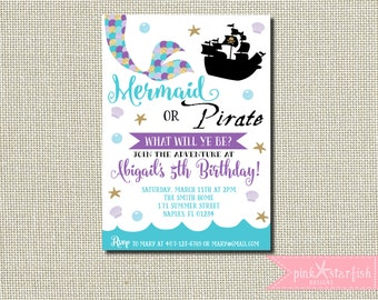 Mermaid and Pirate Invitation, Mermaid and Pirate Birthday Invitation, Pirate and Mermaid Invitation, Sibling Birthday Invitation, Mermaid