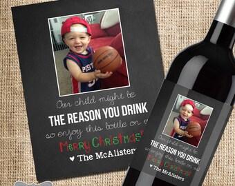 Teacher Christmas Gift, Teacher Gift, Teacher Christmas Wine Label, Christmas Gift for Teachers, Daycare Provider Gift, Babysitter Gift