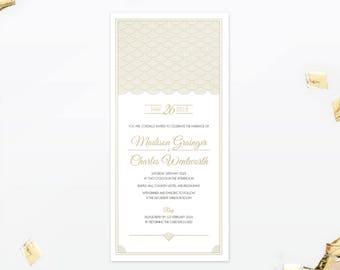 Hollywood Glamour- Wedding Invitation - Single Card - Great Gatsby inspired - 1920s - Customisable