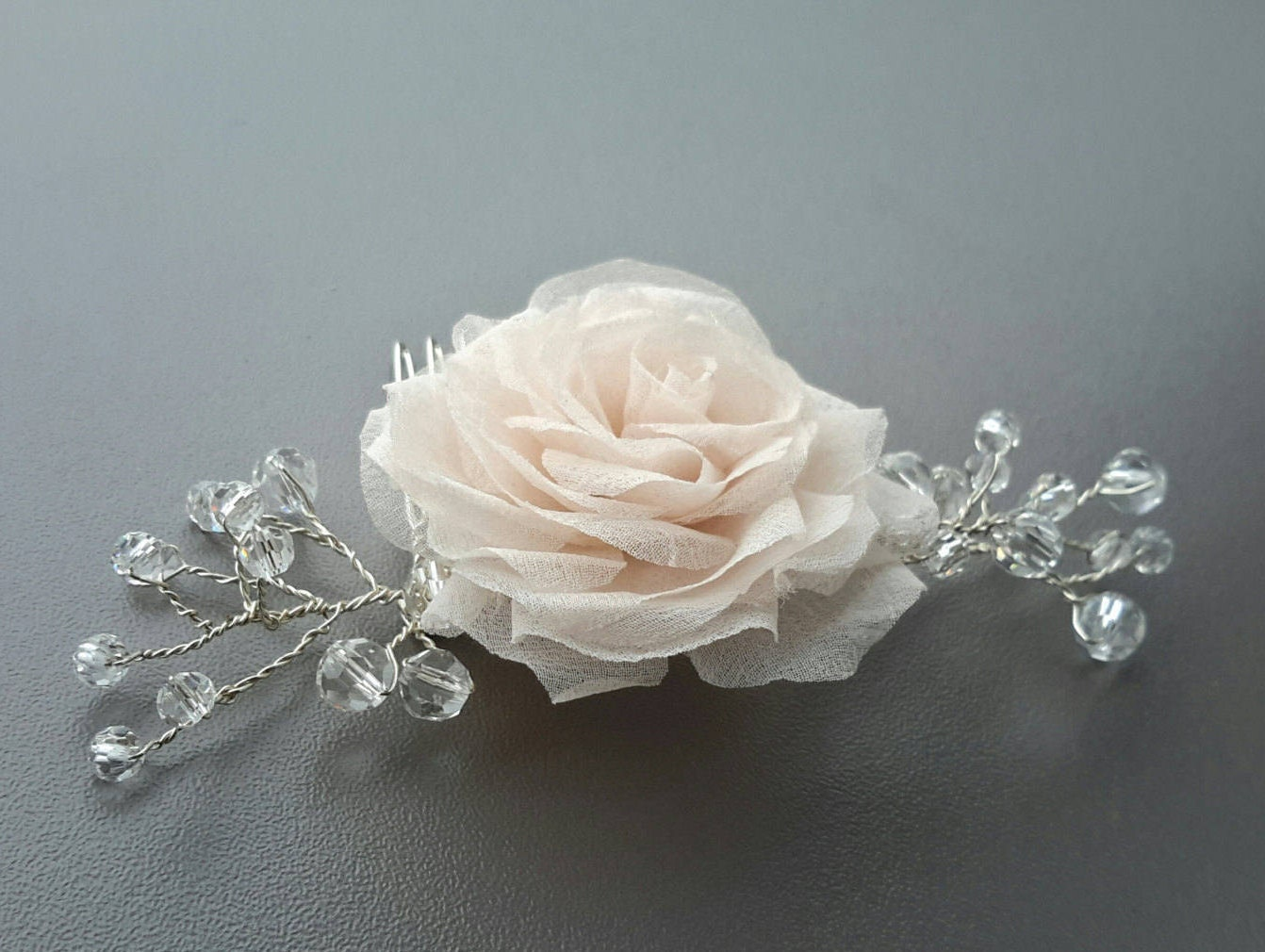 Wedding Hair Flower Comb Bridal Pink Rose And Crystal Hair