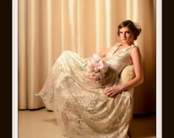 1950s Lace Wedding Dress 'CHARLOTTE'