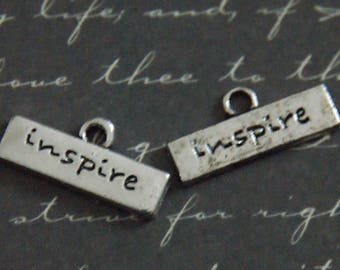 "3 charms horizontal label ""inspired"" silver-plated 9x19mm"
