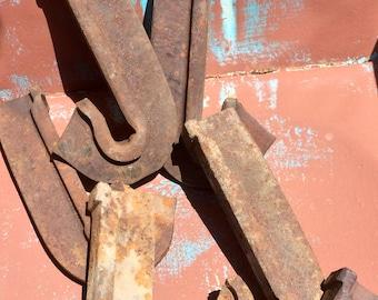 Vintage Heavy Industrial Metal - Rusty Salvage  - Letter J / Hooks - Rustic Farmhouse