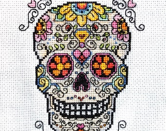 Sugar Skull Halloween Finished Counted Cross Stitch Piece