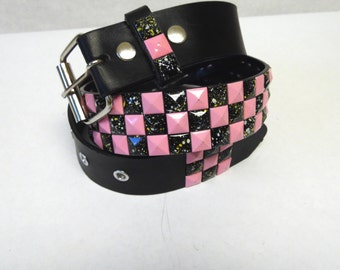 Pink Black Studded Belt Leather Checkerboard Large