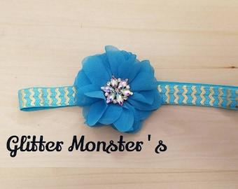 Teal Rhinestone Accent Headband, Teal Flower Headband, Rhinestone Accent Headband, Flower Girl Headband, Wedding Headband, Infant Headband