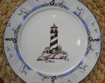 Coastal Lighthouse by Totally Today - 10.5  Dinner Plate & Coastal dinnerware | Etsy