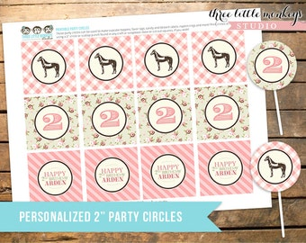 """Vintage Pony Party Personalized 2"""" Party Circles Cupcake Toppers Favor Tags"""